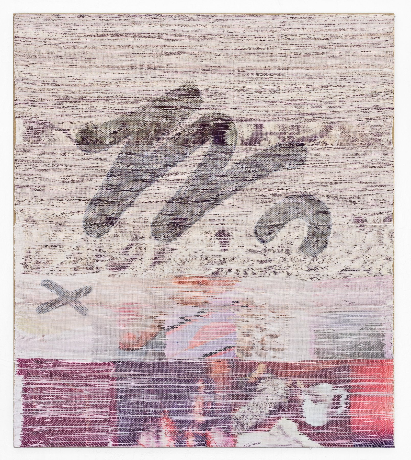 Margo Wolowiec  Rounding Up, 2014Handwoven polyester, cotton, linen dye, sublimation ink, fabric dye 52 x 46 inches