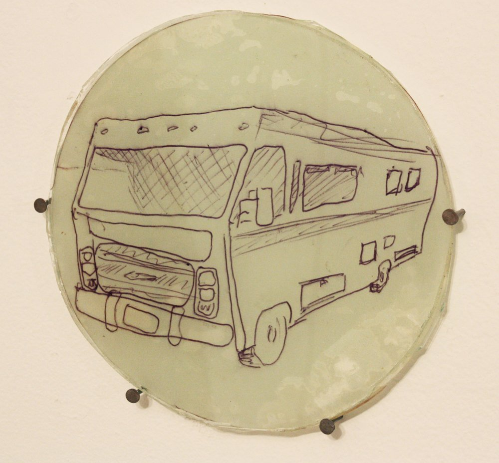Elias Hansen When I look at it from this angle the story seems happier, 2009 Glass, paper, epoxy, pen 6 x 6 inches