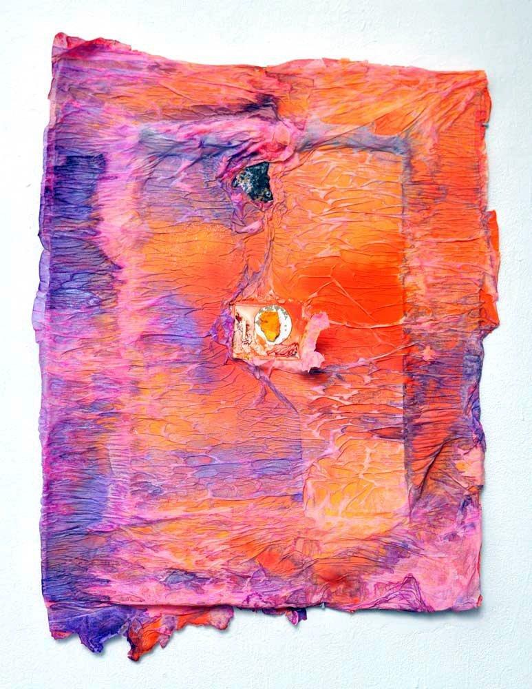 Henrik Olai Kaarstein, _Kakapo Garden_, 2013. Mixed media on cardboard. 42 1_8 x 34 5_8 inches.
