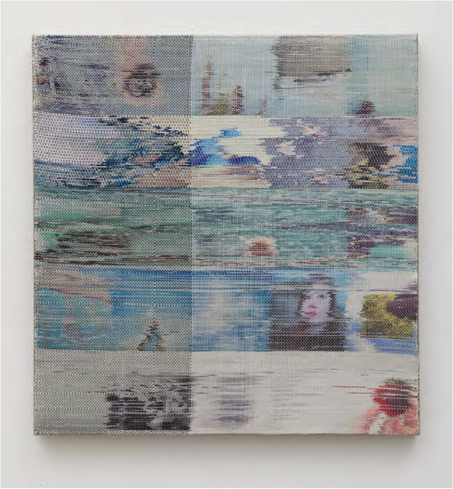 Margo Woloweic, The Blue of Distance, 2014, Handwoven polyester, cotton, dye sublimation ink, 28.5 x 27.5 inches.