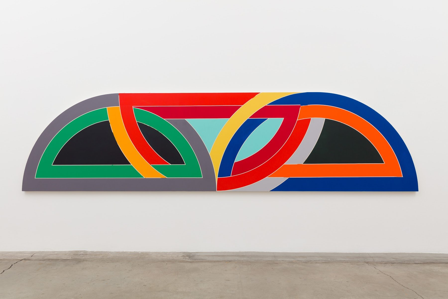 "A 16 foot long geometric abstract painting by Tammi Campbell based on Frank Stella's ""protractor"" series."